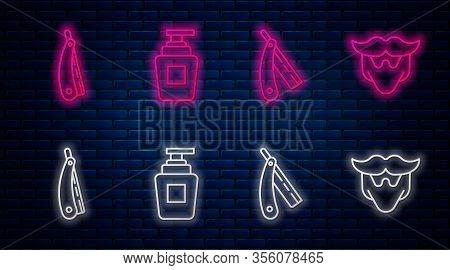 Set Line Bottle Of Shampoo, Straight Razor, Straight Razor And Mustache And Beard. Glowing Neon Icon