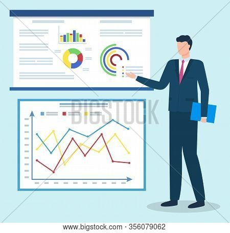 Businessman Presenting Data Graphics On Appointment. Man Stand Near Statistics Chart With Company In