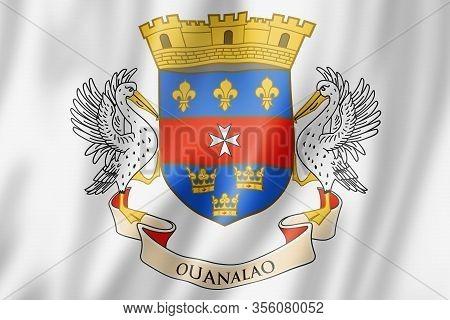 Saint Barthelemy Flag, Overseas Territories Of France. 3d Illustration