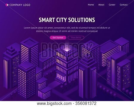Smart City Solutions Isometric Landing Page, Futuristic Smartcity Town With Tall Neon Glowing Skyscr