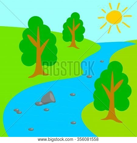 Cartoon River Valley In Flat Style. Sunny Day In The Park. Summer Forest. Vector Illustration.