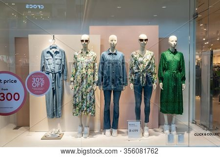 H&m Shop At Central Rama9, Bangkok, Thailand, Mar 9, 2020 : Fashionable Brand Window Display. Standi