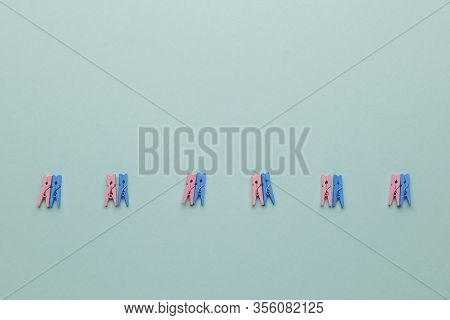 Heterosexual Couple And Relationships Concept. Blue Background