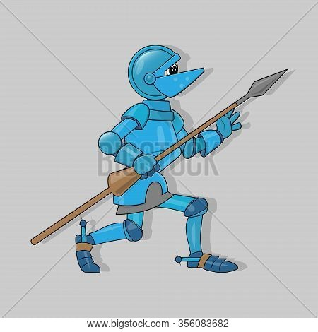 Vector Illustration Of A Crouching Cartoon Knight In Blue Armor With A Brown Spear In His Hand And P