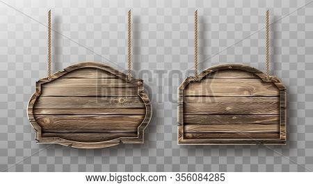 Wooden Boards Hang On Ropes Set. Realistic Signboards With Wood Texture, Banners Or Labels For Bar O