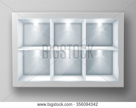 White Showcase With Square Shelves In Shop Or Gallery. Vector Realistic Mockup Of Empty Glass Displa