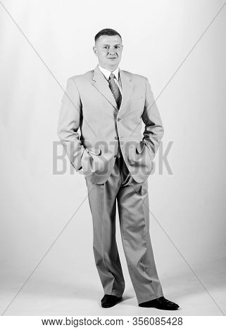 Man Well Groomed Elegant Caucasian Appearance Wear Formal Clothes. Businessman Concept. Formal Style