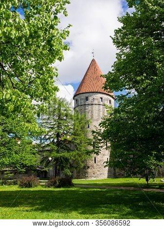 One Tower In Old Town Of Tallinn. Tallinn, Estonia, Europe