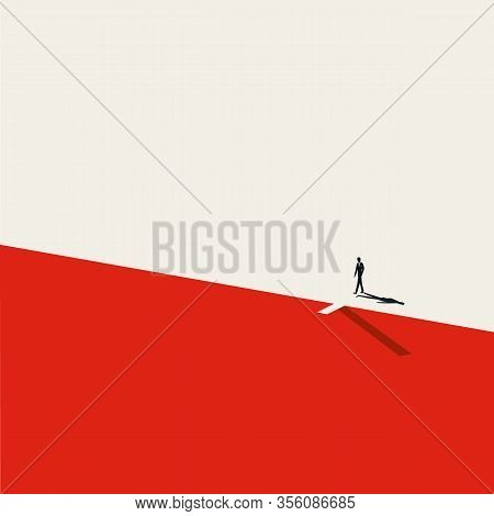 Crisis And Financial Recession Vector Symbol, Businessman On Edge Of A Cliff. Symbol Of Economic Dow