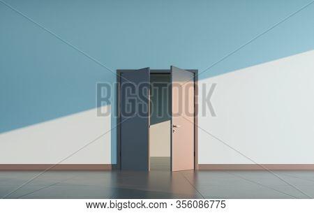 Partially open doors at empty public space interior. 3D render