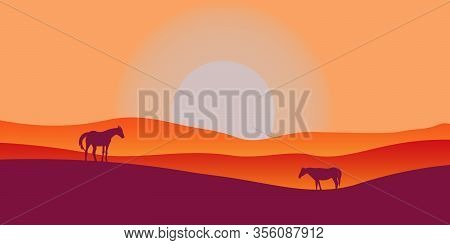 Two Horses Graze In A Valley At Sunset. Scenic Vector Landscape With Shiny Hills And Big Sun Without