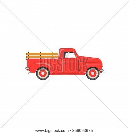 Vector Illustration Of The Old School Farmers Red Pickup Truck For Your Poster Flyer Invitation Post