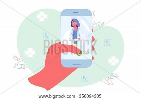 Application User Quickly Call Attending Physician. Patient Hold Smartphone In Hand, Therapist Shown