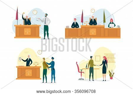 Judge And Jury In Courtroom. Legal Defence, Criminal Procedure At Court Or Tribunal. Man Showing Kni