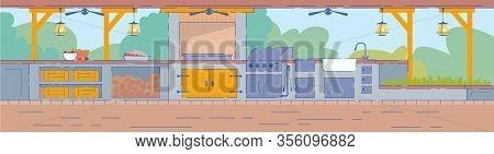 Cartoon Summer Kitchen In Garden Vector Illustration. Food Preparation Equipment With Stove, Sink, H