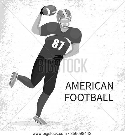 Sportsman Playing In American Football. Player Of Team Running With Ball In Hands. Quarterback Or Fo