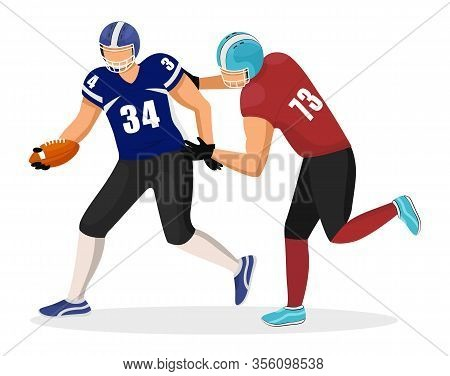 Footballers From Different Teams Play In American Football. Player In Red Uniform Try To Intercept B
