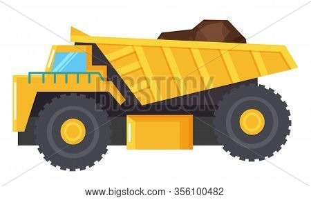 Big Lorry For Coal Mining Industry. Yellow Industrial Backhoe Used To Transport Large Amount Of Eart