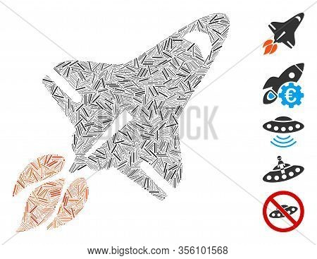 Line Mosaic Based On Space Shuttle Icon. Mosaic Vector Space Shuttle Is Composed With Random Line Do