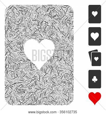 Line Mosaic Based On Hearts Playing Card Icon. Mosaic Vector Hearts Playing Card Is Created With Ran