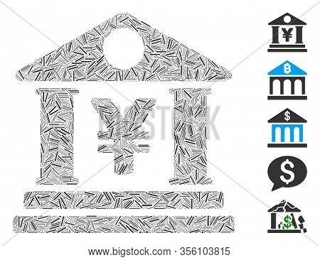 Dash Mosaic Based On Yen Bank Building Icon. Mosaic Vector Yen Bank Building Is Composed With Random