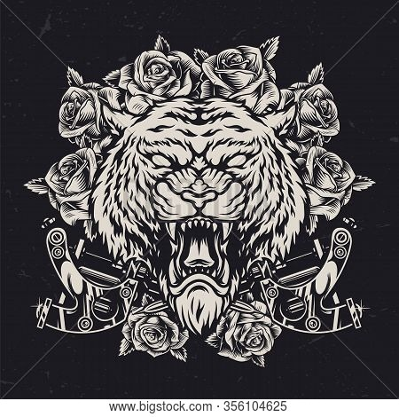Cruel Tiger Head Vintage Concept With Roses And Crossed Metal Tattoo Machines On Dark Background Iso