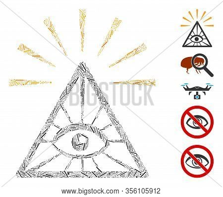 Line Mosaic Based On Total Control Eye Pyramid Icon. Mosaic Vector Total Control Eye Pyramid Is Desi