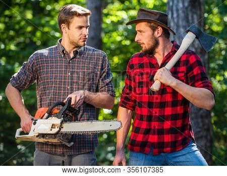 Taking Care Of Nature. Forest Care At Vacation. Summer Or Spring Activity. Man Relax In Forest. Rang