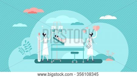 Nursing Hospital Stuff Concept, Flat Tiny Persons Vector Illustration. Clinical Help And Assistance