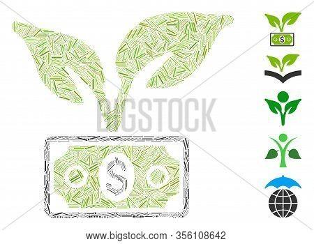 Dash Mosaic Based On Eco Startup Gain Icon. Mosaic Vector Eco Startup Gain Is Created With Randomize