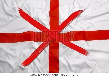 Red Crossed Out Flag Of England, Curfew Concept