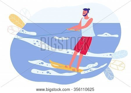 Summer Fun, Water Skiing, Pair Skiing Cartoon. Guy Is Skiing, Holding On To Cable. Man Moves On Surf