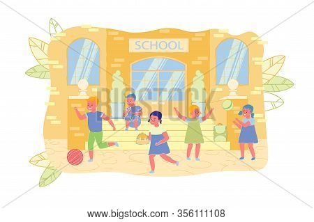 Lonely Little Boy Among Happy Children Classmates. After School, Student Sit On Porch School, While