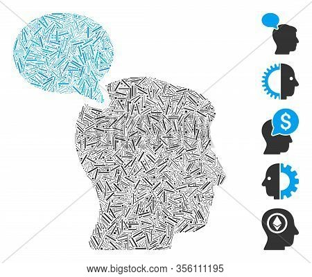 Line Mosaic Based On Person Opinion Icon. Mosaic Vector Person Opinion Is Designed With Scattered Li