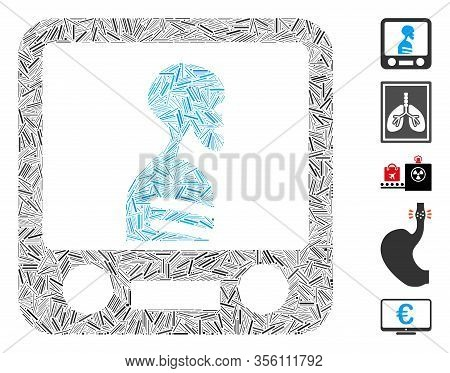 Line Mosaic Based On Xray Screening Icon. Mosaic Vector Xray Screening Is Composed With Random Line