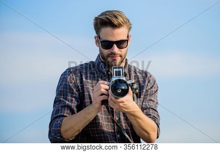 Flawless Moment. Macho Man With Camera. Photographer In Glasses. Travel With Camera. Male Fashion St