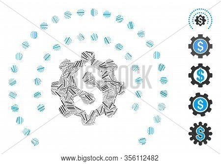 Dash Mosaic Based On Financial Industry Protection Dotted Sphere Icon. Mosaic Vector Financial Indus
