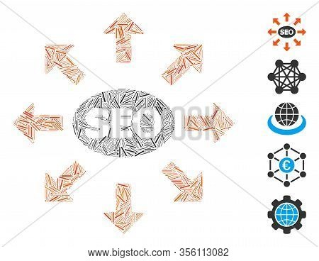 Line Mosaic Based On Seo Spam Icon. Mosaic Vector Seo Spam Is Formed With Scattered Hatch Dots. Bonu