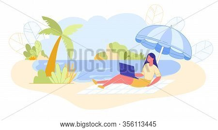 Woman On Ocean Works Remotely On Litter, Banner. Girl On Beach Under Tent Hold Laptop On Her Lap. Sh