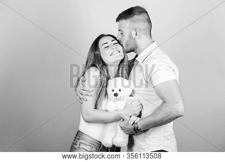 Life Together. Valentines Day Present. Sexy Girl And Man Hold Teddy Bear. Romantic Relationship. Lov