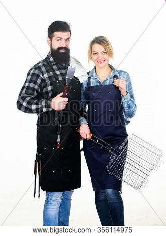 Man Bearded Hipster And Girl Ready For Barbecue White Background. Summertime Leisure. Backyard Barbe