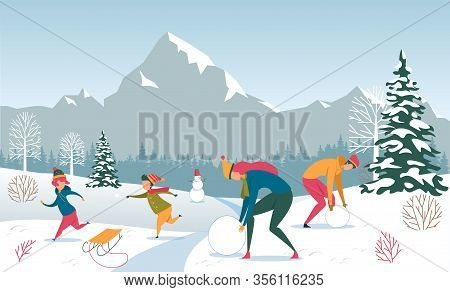 Family Winter Outdoor Fun In Forest, Mountain Resort On Vacation. Parent Make Snowman. Children Play