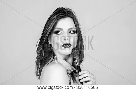 Makeup Cosmetics Concept. Skin Tone Concealer. Cosmetics Shop. Emphasize Femininity. Girl Apply Eye