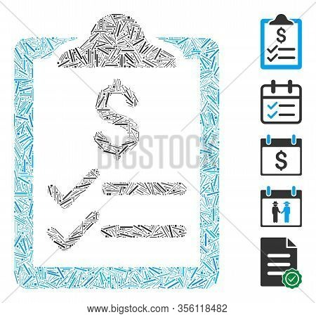 Line Mosaic Based On Invoice Pad Icon. Mosaic Vector Invoice Pad Is Composed With Scattered Line Spo