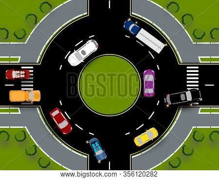 Roundabout With Traffic Circle. Bus, Cars, Truck, Suv. Close-up With Lawns. Illustration