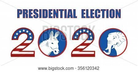 Us Presidential Election 2020. Stylized In The Colors Of The Flag. Symbol Of The Republican And Demo