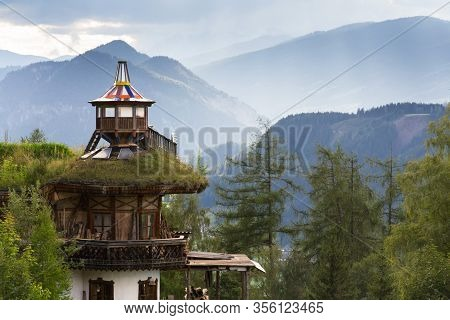 Beautiful Sunset With Dramatic Clouds Over Dachstein Mountains, Wooden Lookout With Green Sod Roof I