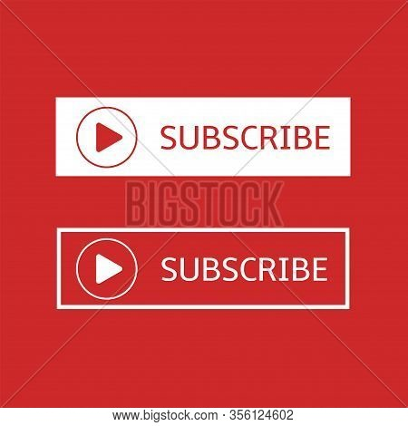 Subscribe Banner Template. Red And White Subscribe Button With Play Arrow Sign, Social Networks And