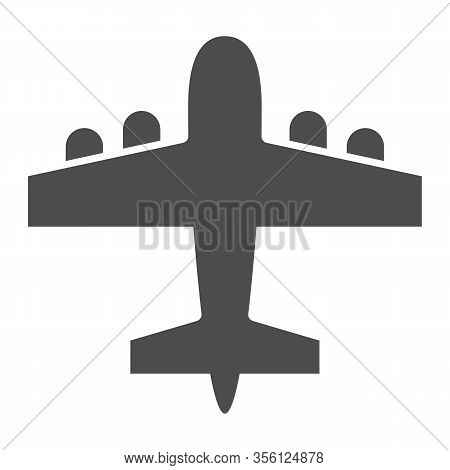 Bomber Airplane Solid Icon. War Aircraft, Aerial Reconnaissance Army Plane Symbol, Glyph Style Picto