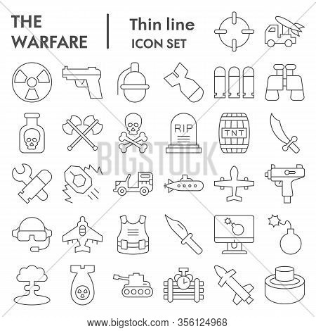 Warfare Thin Line Icon Set. Military Signs Collection, Sketches, Logo Illustrations, Web Symbols, Ou